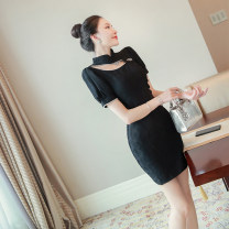 cheongsam Summer 2021 S,M,L,XL black Short sleeve Single cheongsam Retro No slits daily Semicircle lapel Solid color 25-35 years old Piping polyester fiber
