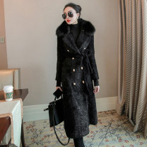 woolen coat Winter 2020 S,M,L,XL White, black other 30% and below Medium length Long sleeves commute double-breasted routine tailored collar Solid color Straight cylinder lady 30-34 years old Pocket, button