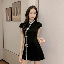 Dress Summer 2020 black S,M,L,XL Short skirt Two piece set Short sleeve commute Crew neck High waist Solid color Socket A-line skirt routine Others 18-24 years old Type A Korean version other