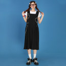 Dress Summer 2020 black S,M,L Mid length dress singleton  Sleeveless Sweet square neck Loose waist Socket Pleated skirt other 18-24 years old Type A Playhouse Pleats, embroidery, pockets 1266A More than 95%