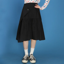skirt Summer 2020 S,M,L,XL White, black Mid length dress commute Natural waist A-line skirt Solid color Type A 18-24 years old More than 95% other Playhouse cotton Tuck, fold, button Simplicity