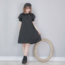 Dress Summer of 2019 black M Short skirt Short sleeve street Loose waist 18-24 years old Type A Dolly+Delly DD-0343 More than 95% polyester fiber