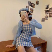 Dress Summer 2020 blue XS,S,M Short skirt singleton  Sleeveless commute High waist lattice zipper A-line skirt other camisole 18-24 years old Type A Korean version