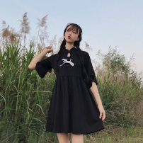 Women's large Summer of 2019, spring of 2019 black Large XL, custom 2XL, custom 3XL, custom 4XL, custom 5XL, custom 6xl, one size fits all Dress singleton  commute easy moderate Socket Short sleeve Retro Medium length cotton routine 18-24 years old 51% (inclusive) - 70% (inclusive) Medium length