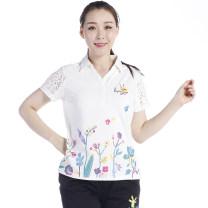 T-shirt Hibiscus powder, royal blue, deep purple, beibai S,M,L,XL,2XL,3XL,4XL Summer of 2019 Short sleeve Regular street cotton 86% (inclusive) -95% (inclusive) La Pagayo A8T1223A Sports & Leisure