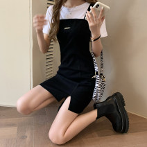 Dress Spring 2021 Black strap skirt with white base t S, M Short skirt Two piece set Sleeveless commute High waist Solid color Socket A-line skirt straps 18-24 years old Type A lady 808#559 other other