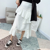 skirt Spring 2021 S,L,M Black, white Short skirt Sweet A-line skirt Solid color 18-24 years old 71% (inclusive) - 80% (inclusive) Chiffon other Stitching, ruffles, asymmetry