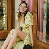 Dress Summer 2020 Fraxinus fragrans S,M,L Mid length dress singleton  Short sleeve Sweet square neck Decor zipper Princess sleeve 25-29 years old Type H More than 95% Chiffon Countryside