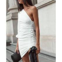 Dress Summer of 2019 white S,M,L Miniskirt singleton  Long sleeves street other High waist Solid color Socket Irregular skirt other Oblique shoulder 25-29 years old Type H amyenjoylife Europe and America