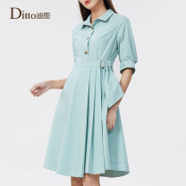 Dress Spring 2021 Celadon green 155/S 160/M 165/L 170/XL 175/2L Mid length dress singleton  elbow sleeve commute Polo collar middle-waisted Solid color Socket A-line skirt routine Others 30-34 years old Type A Ditto / ditto lady Button DRAD803 31% (inclusive) - 50% (inclusive) other cotton