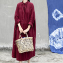 Dress Spring 2020 Fuchsia, Khaki Average size Mid length dress singleton  Long sleeves commute Doll Collar Loose waist Solid color Socket Big swing Bat sleeve Type H Retro cotton