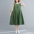 Dress Summer 2020 green Average size [100-180 Jin] Miniskirt singleton  Sleeveless commute Crew neck Loose waist Solid color Socket A-line skirt Type A literature Pleating 81% (inclusive) - 90% (inclusive) cotton