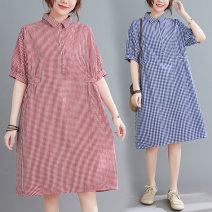Dress Summer 2021 Red, blue L [90-120 kg], XL [120-150 kg], XXL [145-180 kg] Middle-skirt singleton  Short sleeve commute Loose waist other Others Type A literature 81% (inclusive) - 90% (inclusive) cotton