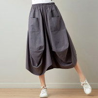 skirt Summer of 2019 Average size Mid length dress Retro Natural waist other Other / other