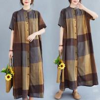 Women's large Summer 2020 Square shirt One size fits all shirt singleton  easy thin Cardigan Short sleeve lattice High collar longuette