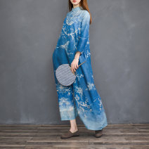 Dress Spring 2020 Blue dye M, L Mid length dress singleton  three quarter sleeve commute stand collar Loose waist Decor Single breasted Big swing routine Other / other Retro Pockets, rags, buttons, prints hemp