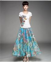 skirt Summer of 2018 M, L White butterfly, red peony, pink butterfly, white cherry, Tibetan blue flower bird, grass green flower bird, sunflower, yijianmei, Tibetan blue flower, green feather, orange flower, new flower, sky blue flower skirt longuette Sweet High waist Fairy Dress Broken flowers