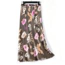skirt Summer 2020 Average size Mid length dress Versatile High waist skirt Big flower Type A More than 95% Silk and satin Siliyi silk printing