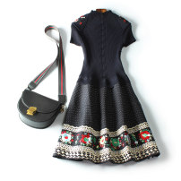 Dress Winter 2020 navy blue L,XL,2XL,3XL Mid length dress singleton  Short sleeve commute Crew neck Elastic waist Decor Socket Big swing raglan sleeve Others Type A ethnic style Inlaid diamond, embroidery, Gouhua, hollow out, splicing 51% (inclusive) - 70% (inclusive) knitting cotton