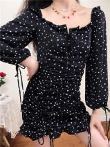 Dress Summer 2020 Black bottom little love S,M,L Short skirt singleton  Long sleeves commute square neck bishop sleeve 25-29 years old Type H Muzimuli / muzimuli Retro 8018c1545 31% (inclusive) - 50% (inclusive) polyester fiber