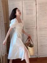 Dress Spring 2021 white S,M,L longuette singleton  Short sleeve commute square neck High waist Solid color A-line skirt puff sleeve 25-29 years old Type A Muzimuli / muzimuli court C914A1757 31% (inclusive) - 50% (inclusive)