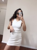 Dress Autumn 2020 Black, white S,M,L Short skirt singleton  street Crew neck High waist Solid color 25-29 years old Type H Muzimuli / muzimuli Sports & Leisure