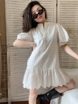 Dress Spring 2021 white S,M,L Short skirt singleton  Short sleeve Sweet stand collar Elastic waist Solid color Ruffle Skirt puff sleeve 25-29 years old Type A Muzimuli / muzimuli Embroidery, Auricularia auricula, Gouhua, hollow out 2012 26j1531 81% (inclusive) - 90% (inclusive) cotton college