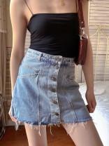 skirt Spring 2021 S,M,L,XL Blue, black Short skirt Versatile High waist A-line skirt Solid color Type A 18-24 years old 2035B233 31% (inclusive) - 50% (inclusive) Denim Muzimuli / muzimuli cotton