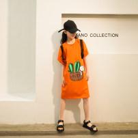 Dress Orange female Rain and stars 120cm, 130cm, 140cm, 150cm, 160cm, s (adult size), m (adult size) Cotton 50% polyethylene terephthalate (polyester) 45% polyurethane elastic fiber (spandex) 5% summer leisure time Short sleeve Cartoon animation other A-line skirt LPLQ05648 Class B Chinese Mainland