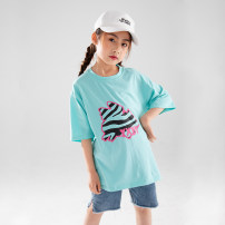 T-shirt Rain and stars 120cm, 130cm, 140cm, 150cm, 160cm, s (adult size), m (adult size) female summer Short sleeve Crew neck Korean version There are models in the real shooting nothing cotton other Cotton 95% polyurethane elastic fiber (spandex) 5% Class B other Chinese Mainland Zhejiang Province