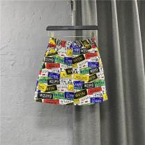 skirt Summer 2021 S,M,L,XL Picture color Short skirt commute High waist Denim skirt letter Type A 25-29 years old More than 95% Denim cotton Pocket, button, zipper Korean version