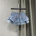 skirt Spring 2021 S,M,L,XL,2XL Dark blue, light blue Short skirt commute High waist A-line skirt Solid color Type A 25-29 years old More than 95% Denim cotton Pocket, button, zipper Korean version