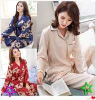 Pajamas / housewear set female Other / other Polyester (polyester) Long sleeves spring routine Small lapel Solid color trousers 2 pieces Iced silk