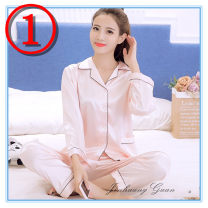Pajamas / housewear set female Other / other XXL 125-140 kg, XL 110-125 kg, l 95-110 kg, m 80-95 kg Model number: 234, model number: 221, model number: 776, model number: 887 Polyester (polyester) Long sleeves Sweet pajamas autumn routine Small lapel Solid color trousers 2 pieces Iced silk