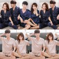 Pajamas / housewear set lovers Other / other Men's XXL 170-200 Jin, men's XXL 140-170 Jin, men's XL 125-145 Jin, men's l 100-125 Jin, women's XXL 140-160 Jin, women's XL 120-140 Jin, women's l 100-120 Jin, women's M 80-100 Jin Polyester (polyester) Simplicity pajamas summer Thin money Solid color