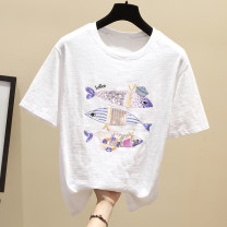 T-shirt S,M,L,XL,2XL Summer 2020 Short sleeve Crew neck easy Regular routine commute cotton 96% and above 18-24 years old Korean version youth Animal design Embroidery