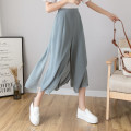 Casual pants White, black, grey blue S,M,L,XL Summer 2021 Ninth pants Wide leg pants High waist commute Thin money 25-29 years old 96% and above other