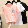 T-shirt White, black, pink, one jacket or pants S,M,L,XL,2XL,3XL Summer 2020 Short sleeve Crew neck easy Regular routine commute cotton 96% and above Korean version youth Animal design pocket