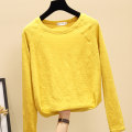 T-shirt white , yellow , black , Pink , Take this and randomly send out a jacket or pants for season change S,M,L,XL,2XL,3XL Autumn 2020 Long sleeves Crew neck easy Regular routine commute cotton 96% and above 18-24 years old Korean version Solid color Splicing