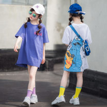 Dress White, blue purple female Other / other 110cm, 120cm, 130cm, 140cm, 150cm, 160cm, mom's one size - L Cotton 95% other 5% summer leisure time Short sleeve Cartoon animation cotton A-line skirt Class B 2, 3, 4, 5, 6, 7, 8, 9, 10, 11, 12, 13, 14 years old Chinese Mainland