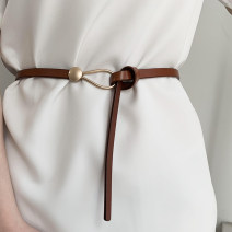 Belt / belt / chain Double skin leather Black, white, brown female belt Sweet Single loop Youth, youth, middle age Double buckle Glossy surface Glossy surface 0.9cm alloy alone