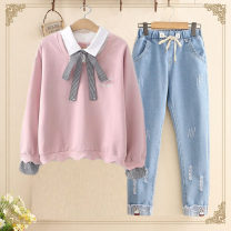 Sweater / sweater Autumn 2020 S,M,L,XL Long sleeves Socket Fake two pieces routine Hood easy Sweet routine letter 96% and above bow college