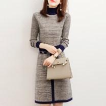 Dress Winter of 2019 M,L,XL Mid length dress singleton  Long sleeves commute Half high collar High waist A-line skirt routine Type A Simplicity 51% (inclusive) - 70% (inclusive) knitting wool