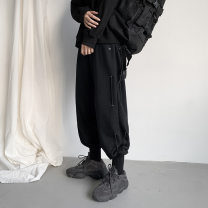 Casual pants Others Youth fashion Black, gray S,M,L,XL,2XL,3XL routine trousers Other leisure easy Micro bomb autumn teenagers tide middle-waisted Little feet Overalls Pocket decoration No iron treatment Solid color cotton