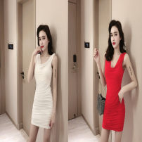 Dress Summer of 2019 S,M,L,XL Short skirt singleton  Sleeveless commute V-neck middle-waisted Socket One pace skirt routine Others Type A Korean version
