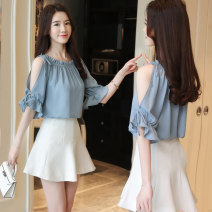 Lace / Chiffon Summer 2021 Blue, black, white 3XL,2XL,XL,L,M Short sleeve commute Socket singleton  easy Regular One word collar Solid color Lotus leaf sleeve 25-29 years old lady 96% and above
