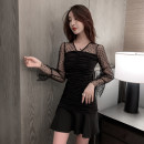 Dress Winter 2020 black S,M,L,XL Short skirt singleton  Long sleeves commute V-neck High waist Solid color Socket Irregular skirt pagoda sleeve Others 18-24 years old Type A Korean version Lace, stitching, mesh, zipper 71% (inclusive) - 80% (inclusive) knitting cotton