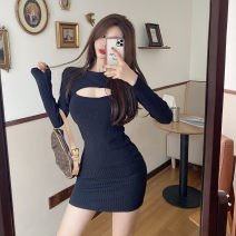 Dress Autumn 2020 black Average size Short skirt singleton  Long sleeves commute Crew neck middle-waisted Solid color Socket One pace skirt routine 18-24 years old knitting polyester fiber