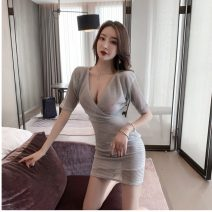 Dress Summer 2021 silvery S,M,L Short sleeve V-neck routine 18-24 years old