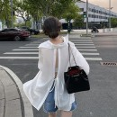 Lace / Chiffon Spring 2021 white S,M,L,XL,XXL Long sleeves commute Cardigan singleton  Straight cylinder Regular Polo collar Solid color routine QQCC21020103 Button Korean version 31% (inclusive) - 50% (inclusive) polyester fiber